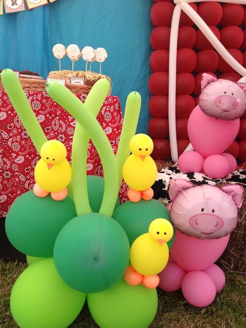 Balloons at a Farm Party #farm #party