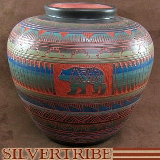 Native American Bear Pottery Hand Painted and Etched by Navajo.