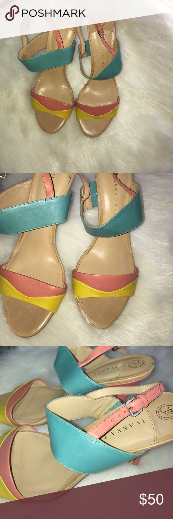"Summer Sale‼️Ivanka Trump Colorblock Heels Contemporary curves creates modern edge on a two-strap sandal set atop a wrapped heel.Adjustable strap with buckle closure. Approx. heel height: 4"". Leather upper/synthetic lining and sole. Ivanka Trump Shoes Heels"