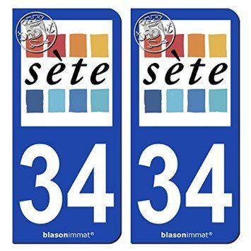 2 Stickers de plaque d'immatriculation auto 34200 Sète - Ville