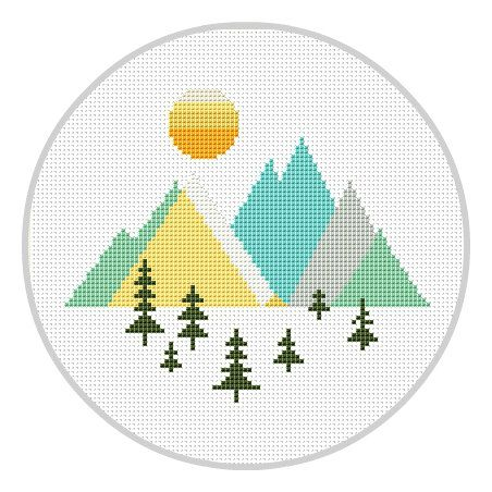 Mountains Geometric Cross Stitch Pattern Geometric Forest Scandinavian Mid Century Woodland cross stitch Modern cross stitch X178