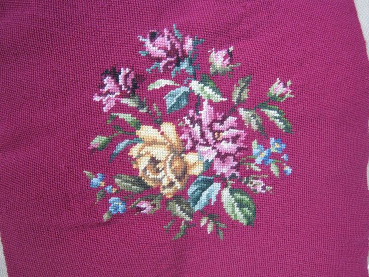 "Vintage Needlepoint Big Handmade Wool Completed Chair/Pillow Top Floral 17.5"" Sq #homemade"