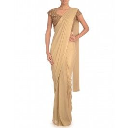 Golden Sari with Sequined Blouse