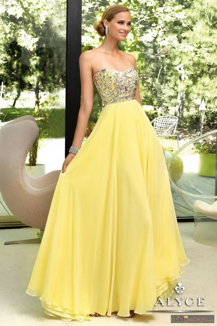 Alyce Paris Prom Dress 6005 - Sweetheart bodice with long chiffon skirt in soft yellow. This gown is perfect for prom, special occasion and military ball.