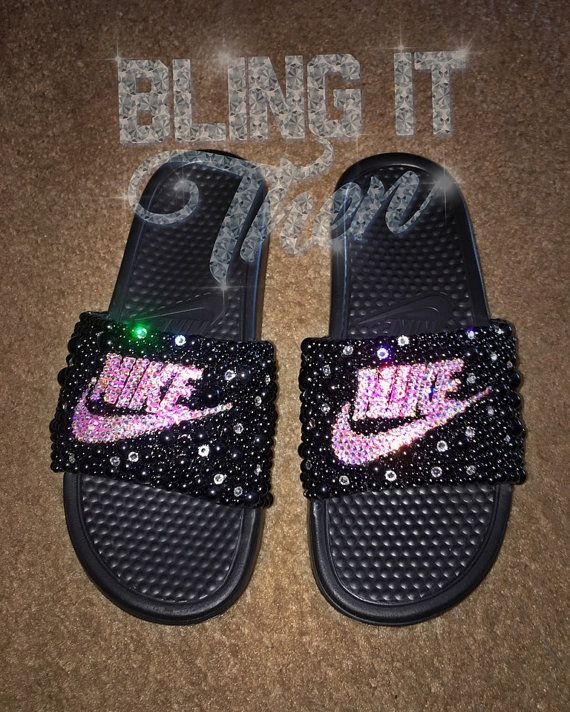 Hey, I found this really awesome Etsy listing at https://www. Nike  SlidesBling ShoesStyle IdeasSwarovski CrystalsSandalGlitterNike ...