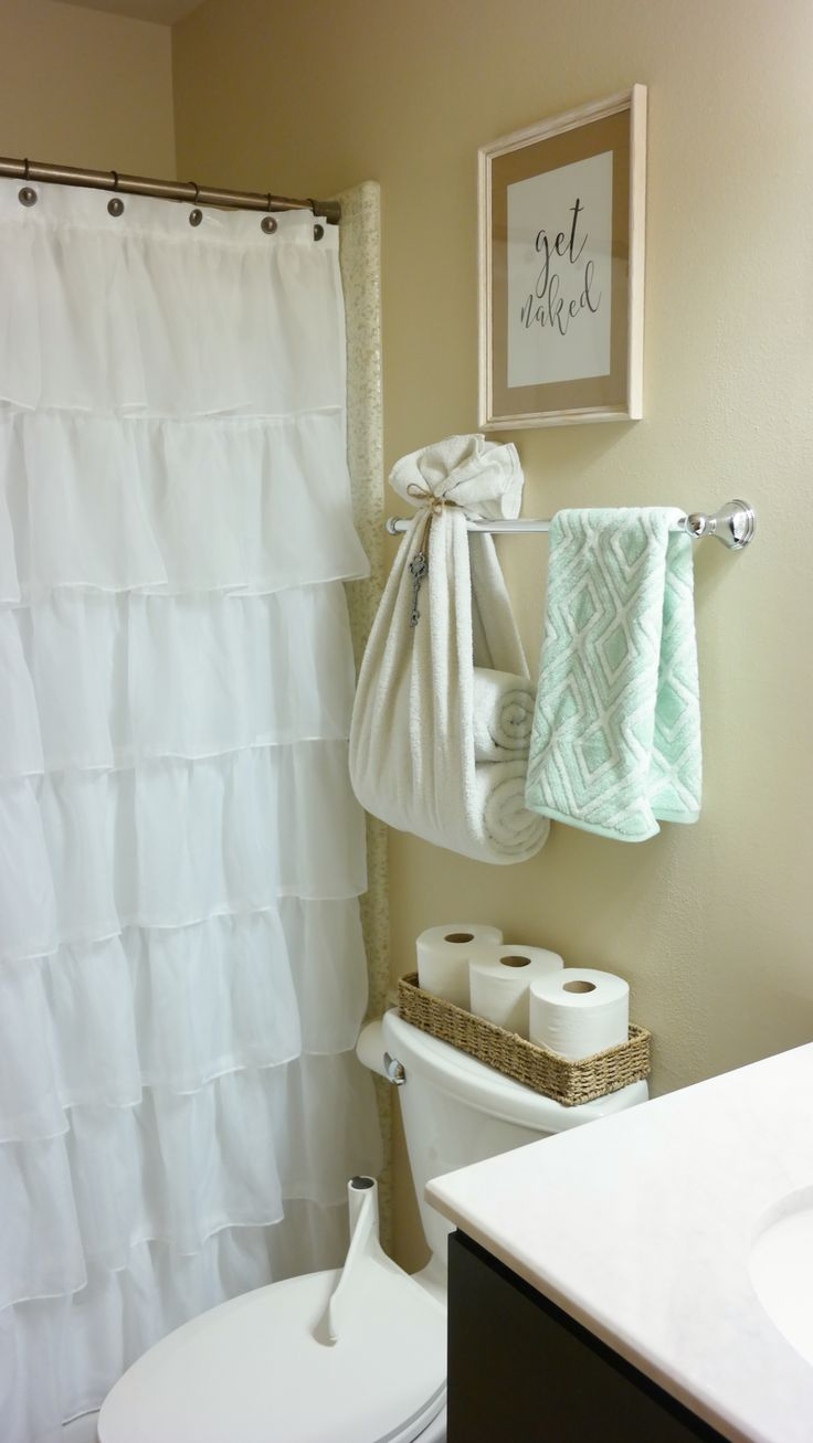 Light pink ruffle shower curtain - Bright And Fresh Bathroom Decor Ruffle Shower Curtain Towel Holder Get Naked Print