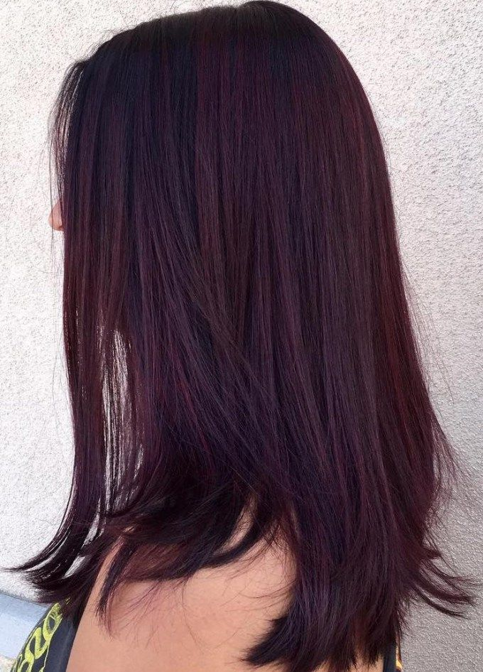 45 Shades of Burgundy Hair Dark Burgundy, Maroon, Burgundy with Red,  Purple and Brown Highlights. Borgoña oscura y pelo violeta