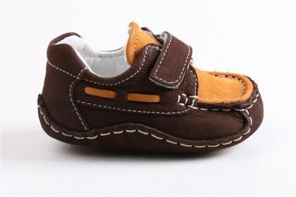 Ay Balım - Erkek Bebe Tarçın %100 Nubuk Deri Ortopedik Taban Ayakkabı