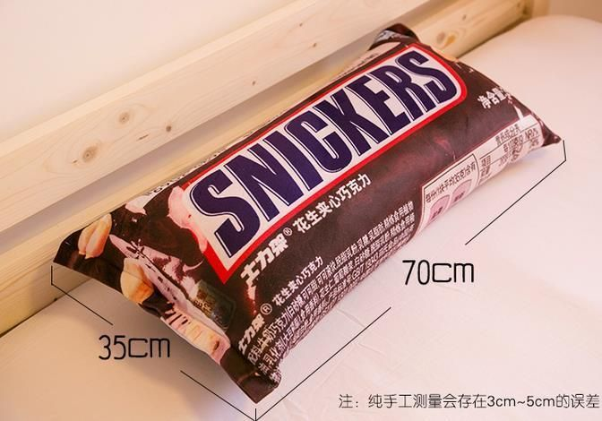 Genuine Creative 3D Snickers Chocolate Bedroom Pillow Lunch Break Pillow Gift