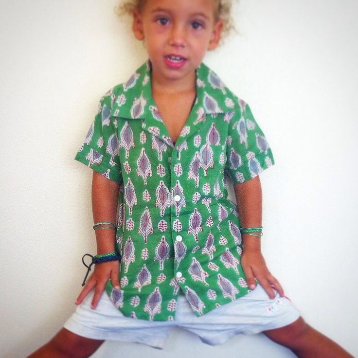 100% Cotton Indian Block Print Boy's Shirt / Baby Shower Gift - Green