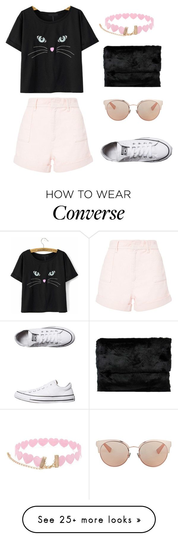 """Button nose"" by sunshine1877 on Polyvore featuring Philosophy di Lorenzo Serafini, Forever 21, Oui, Odile!, Converse and Christian Dior"
