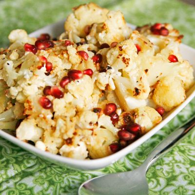 Roasted Cauliflower with Blue Cheese, Garlic and Pomegranate - Sarah's ...