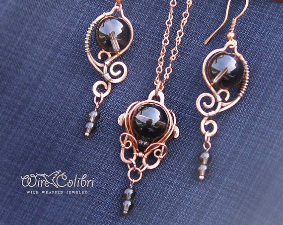 Copper earrings and pendant necklace set with smoky by WireColibri