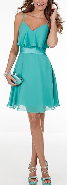 Aqua Chiffon Dress
