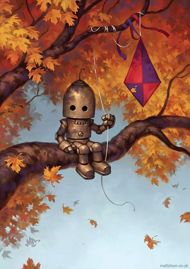 Illustrations of Lonely Robots Experiencing The World. To see more art and information about Matt Dixon click the image.