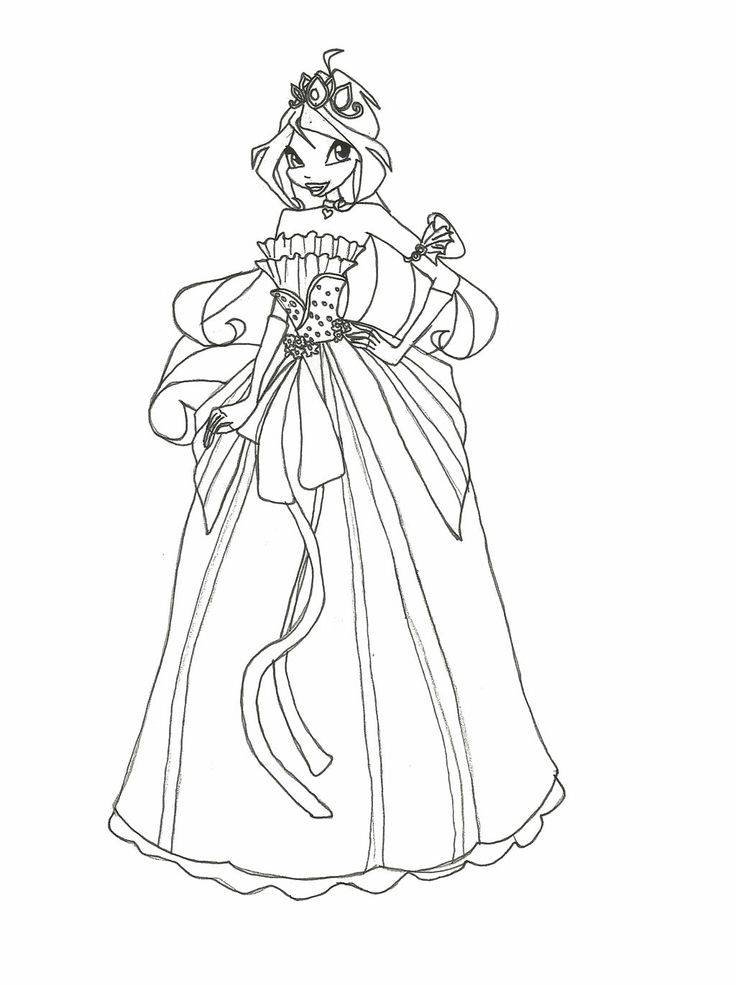 Winx Club Wear Dress Interesting Coloring Pages 1024