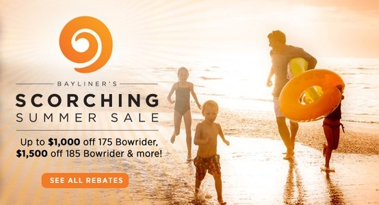 Bayliner's Scorching Summer Sale is back with deep discounts on a whole host of popular models. Welcome the heat through July 8 with outstanding rebates on new boats from participating dealers, including the top-selling 175 and 185 Bowrider. Together they're the best-selling duo on the water today! Shop the promotion now! #bayliner #summer #sale #boats
