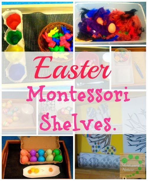 Easter Montessori Shelves. Here are some Easter Montessori shelves activities to work on developing hand grip, finger strength, concentration, fine motor skills, etc. These are activities on transferring, sorting, matching, colouring and cutting.{ Montessori Nature Blog }