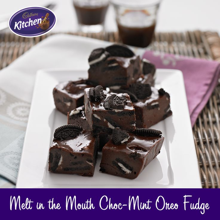 Rich and sumptuous a killer combination of #chocolate, #mint and the crunch of #Oreo. Delicious Oreo Fudge #recipe. #baking To view the #CADBURY product featured in this recipe visit https://www.cadburykitchen.com.au/products/view/cadbury-melts/