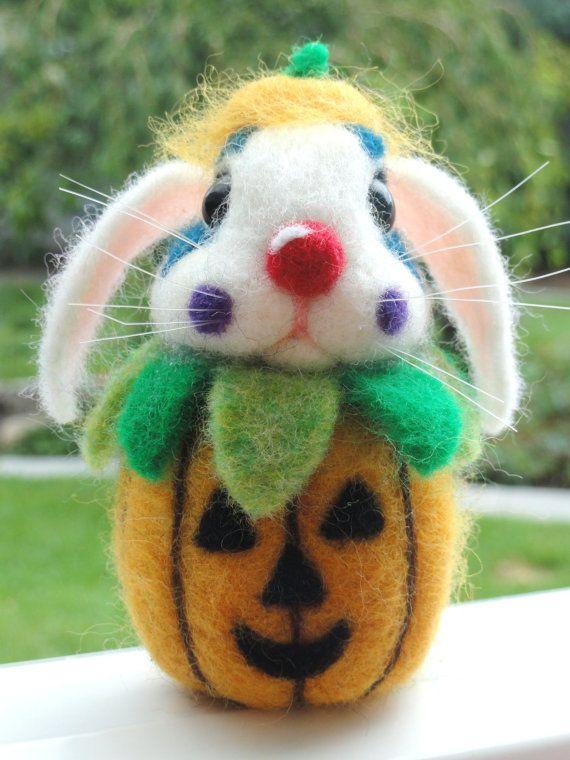 HALLOWEEN CLOWN Bunny  Needle Felted  by HeartFeltCustoms on Etsy