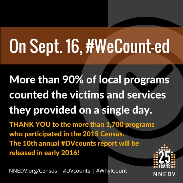 THANK YOU to the more than 1,700 local programs who participated in the 2015 #DVcounts census! #WeCount Learn more: nnedv.org/census