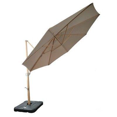 11' Offset Sunbrella Umbrella - Canvas Heather Beige - Light Wood Finish - Smith & Hawken
