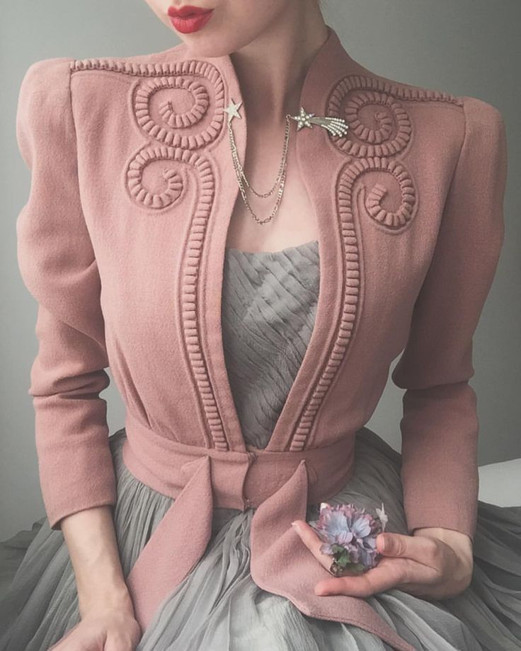 """4,110 Likes, 59 Comments - Ida Cathrine (@idacath) on Instagram: """"Tonight's outfit Late 1930s dusty pink swirly jacket and whisper grey ballet dress. Worn with…"""""""