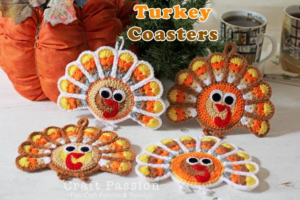 Crochet Turkey Coasters And Ornament  If I start now maybe I can have a bunch done by thanksgiving :)