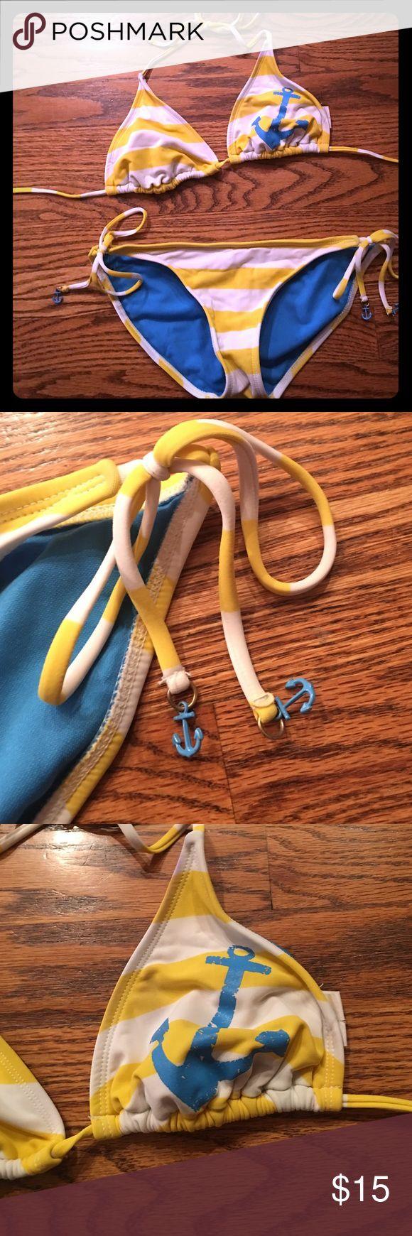 Yellow striped blue anchor bikini Yellow striped blue anchor bikini, good condition well worn! Swim Bikinis
