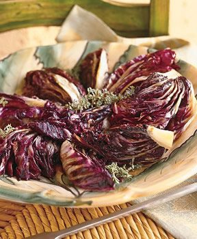 Baked Raddichio                Roasted Balsamic Radicchio Recipe   at Epicurious.com: I overcooked this - it would have been delicious otherwise.