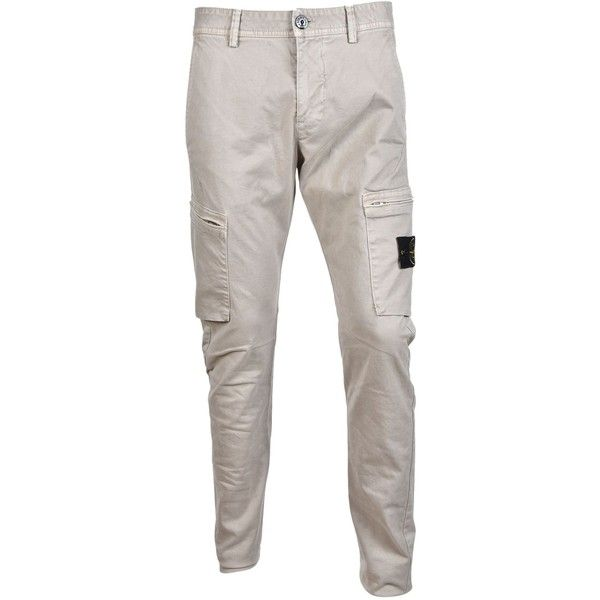 Stone Island Zip Pocket Cargo Trousers ($200) ❤ liked on Polyvore featuring men's fashion, men's clothing, men's pants, men's casual pants, sabbia, mens zipper pants, mens military style cargo pants, mens zip off pants, mens cargo pants and mens white cargo pants