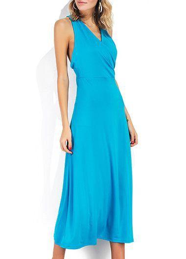 Sleeveless V Neck Sky Blue Cutout Back Dress on sale only US$31.58 now, buy cheap Sleeveless V Neck Sky Blue Cutout Back Dress at liligal.com