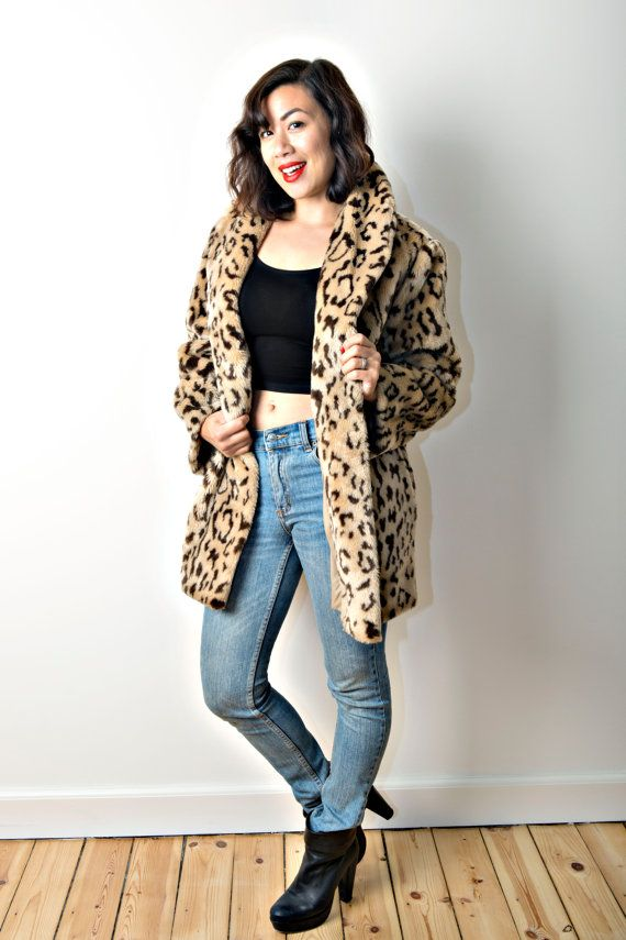 Leopard print faux fur coat by CirkusVintageCph on Etsy