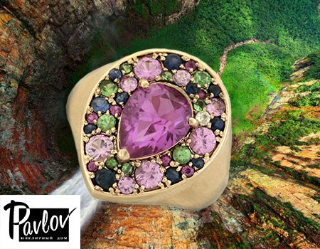 P A V L O V  jewellery colored sapphires...rhodolite colored sapphires...rhodolite emeralds and tsavorites adorn the contours of this new cocktail ring