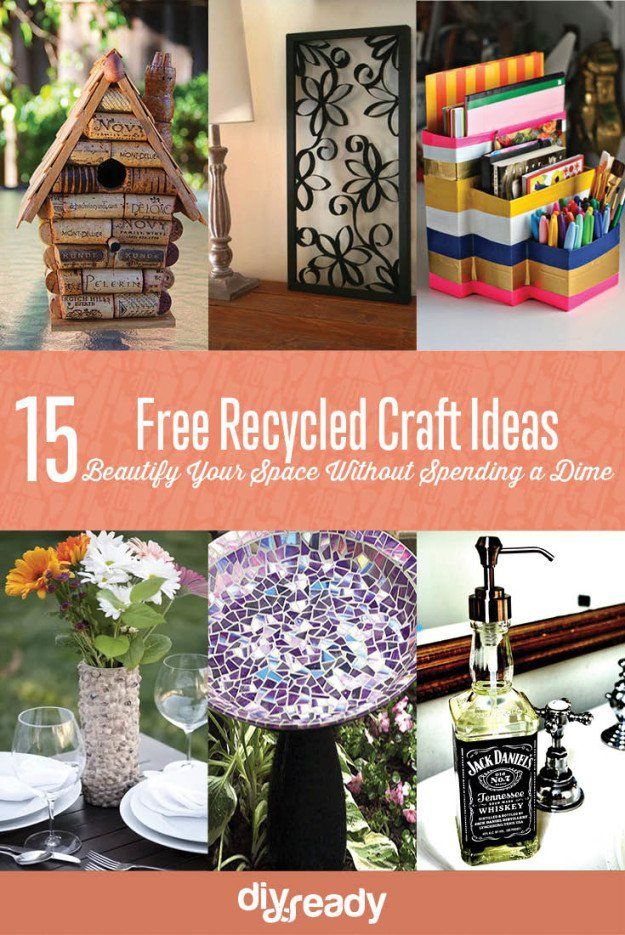 15 Free Recycled Craft Ideas: Beautify Your Space Without Spending a Dime! See them all at Diyready
