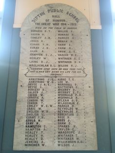 Dipton School Roll of Honour - Historypin | Walking with an Anzac