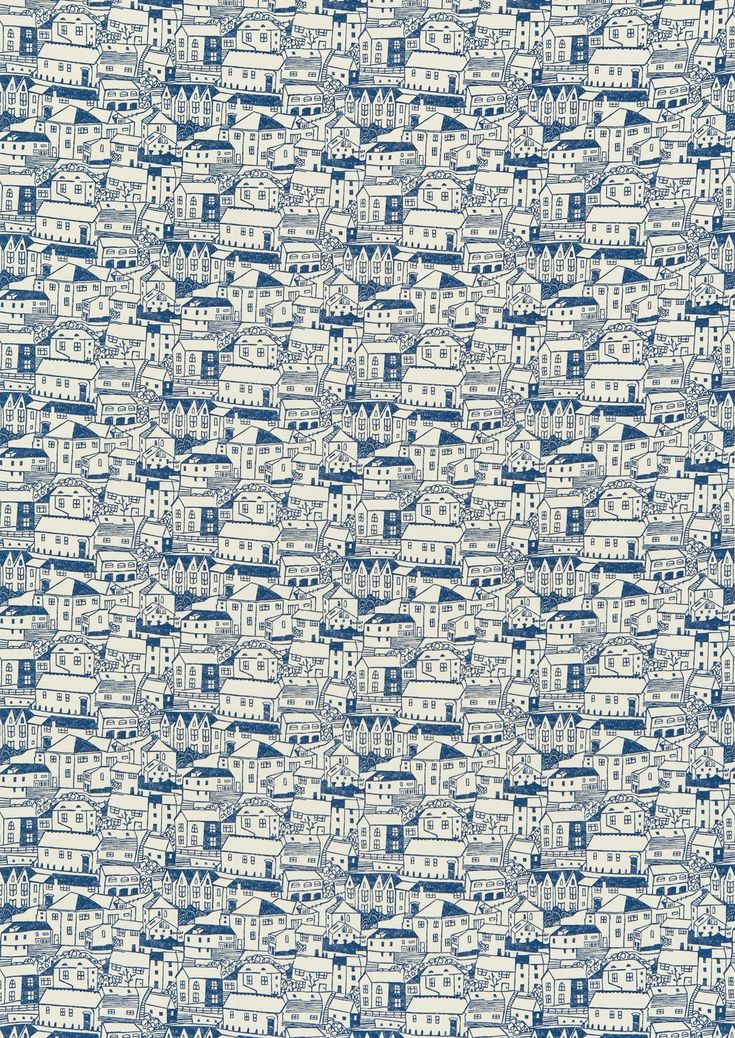 St Ives (221293) - Sanderson Fabrics - St Ives with its streets of houses is printed in the character of a naïve lino print in cotton. Shown in Indigo Blue. Also available as non-woven wallpaper. Please request sample for true colour match.