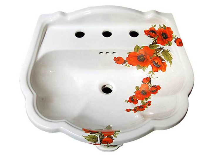 Red Poppies Hand Painted Pedestal Sink Top