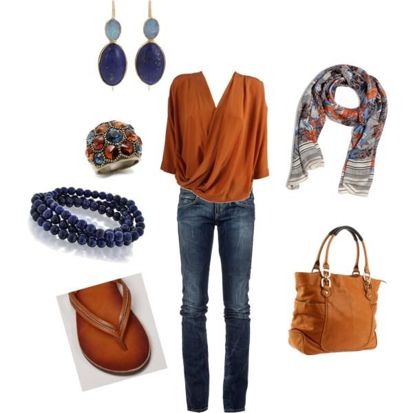 great colors: Fashion, Style, Blue, Pumpkin, Colors, Outfit, Closet, Color Combination