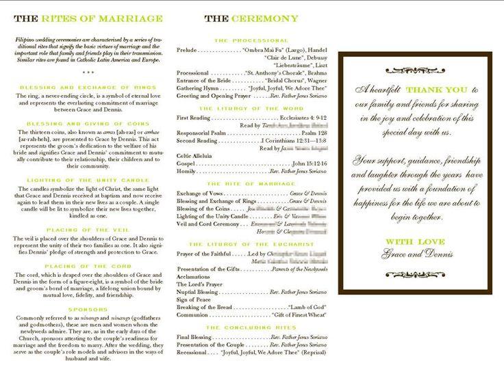 Filipino Mass Program Wedding ProgramsWedding CeremonyWedding