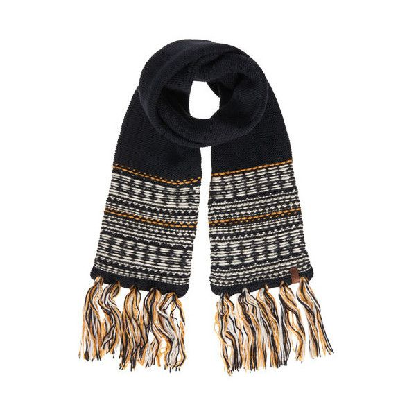 Superdry Rhumi Tassel Scarf (2.370 RUB) ❤ liked on Polyvore featuring accessories, scarves, navy, superdry, navy blue shawl, striped shawl, navy shawl and striped scarves