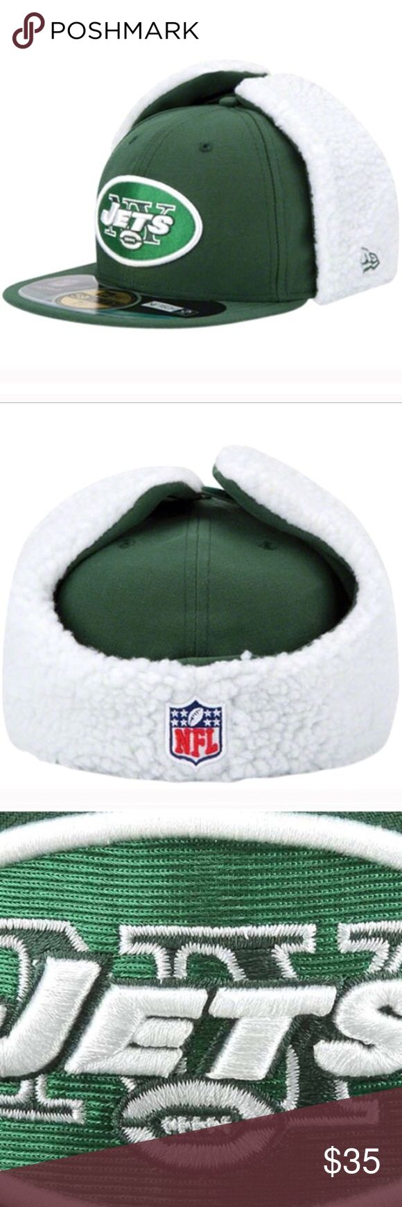 New York Jets hat Celebrate your New York Jets fandom with this On-Field Dog Ear 59FIFTY hat from New Era! It has embroidered New York Jets graphics that will show off your team pride in authentic NFL style. It's also got convertible lined ear flaps and NE Tech material to keep you comfortable on the next New York Jets game day!  Moisture-wicking fabric Officially licensed NFL product Six panels with eyelets UV protection Water-repellant treatment Convertible lined ear flaps with hook and…
