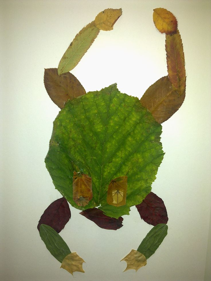 Žába - lisované listy. Podzimní tvoření