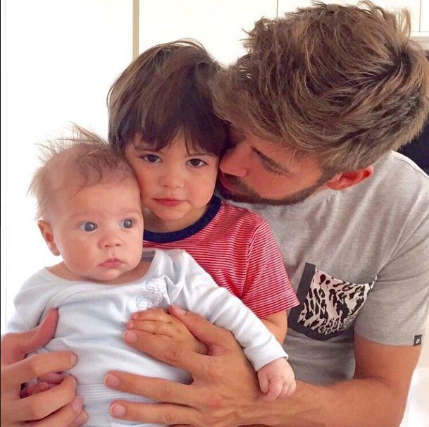 Gerard Piqué with sons Sasha and Milan.