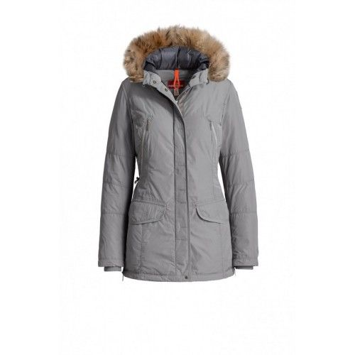 2016 PARAJUMPERS-RITA Womens PJS Down Jacket Fur Hooded Grey