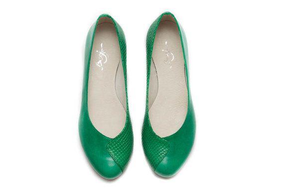 Lederen schoenen groene schoenen platte schoenen door BangiShop