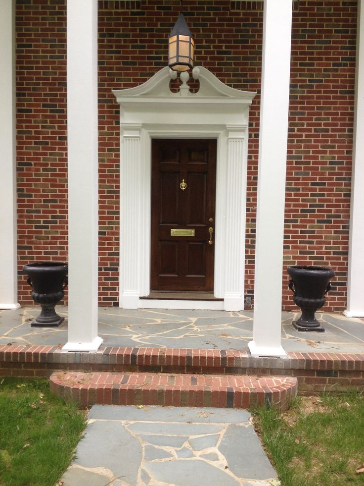 1941 Southern Colonial Revival Two Story Columns Broken Pediment Front Door Slate Front Porch