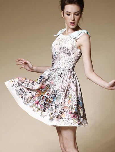 Sleeveless Ink Print Dress
