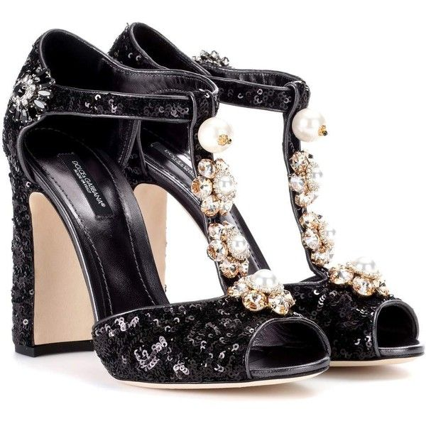 Dolce & Gabbana Sequin-Embellished Sandals (€1.370) ❤ liked on Polyvore featuring shoes, sandals, black, sequined shoes, black sequin shoes, black sandals, kohl shoes and dolce gabbana shoes