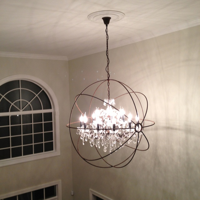 How Big Should Foyer Chandelier Be : Restoration hardware focault orb chandelier foyer